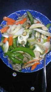 ミニ白菜とスナップエンドウの中華炒め